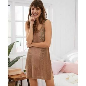 Aerie Brown Mesh Swim Mesh Crochet Cover Up Dress